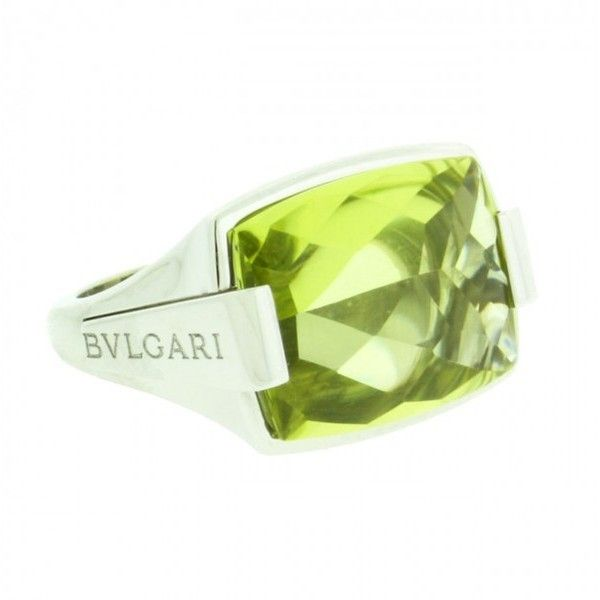 preowned bulgari 18k white gold peridot ring liked on polyvore