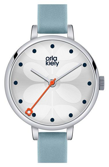 Orla Kiely 'Ivy' Leather Strap Watch, 28mm available at #Nordstrom