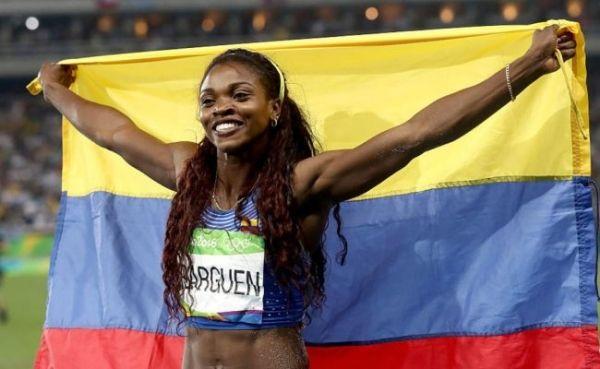 Caterine Ibargüen, campeona olímpica de atletismo en el salto triple, el 14 de agosto en Río 2016.