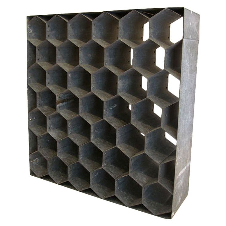 Vintage Honeycomb Wine Rack on Galvanized Metal | From a unique collection of antique and modern commodes and chests of drawers at https://www.1stdibs.com/furniture/storage-case-pieces/commodes-chests-of-drawers/