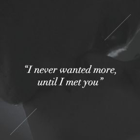 """""""I never wanted more, until I met you."""" 