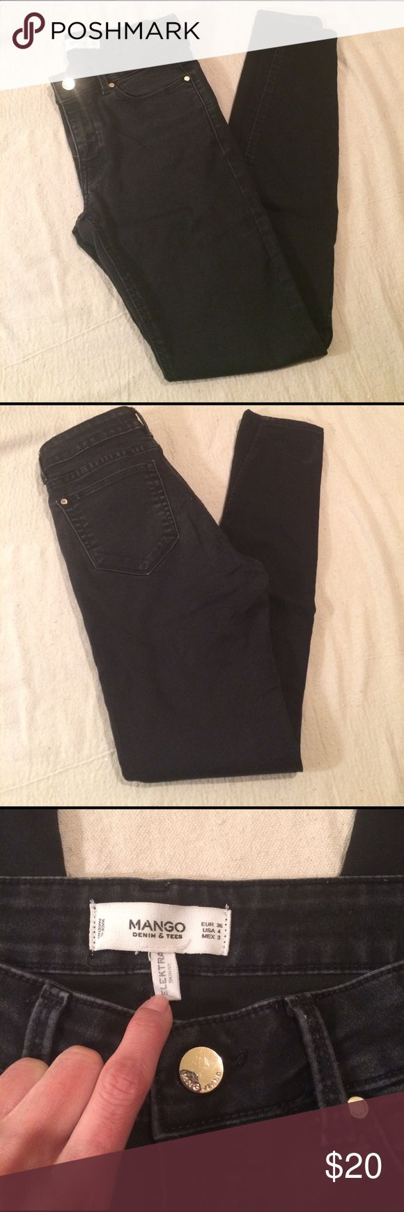 Mango Skinny Elektra Black Pants Size 4 Price drop. Nice black skinny jeans by Mango. It has gold detail, some fade to it, some was nature condition from purchase. No snags or tears. Hardly worn. I normally wear size 24/25, and it fit me perfectly. ✨Looking to close down my posh closet by March 15th, if you are interested in anything, please give reasonable offers before it's too late!✨ Mango Pants Skinny