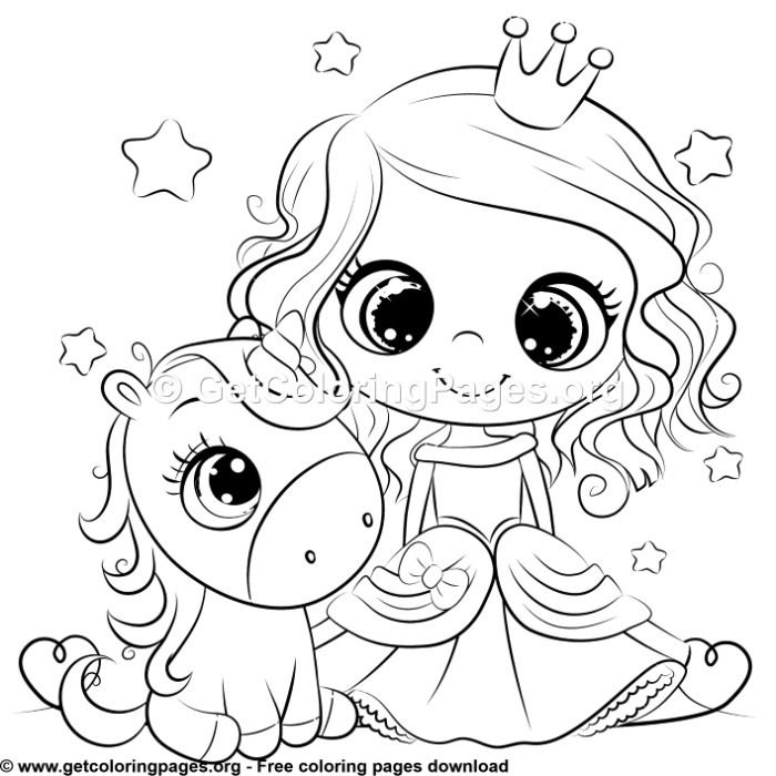 Cute Unicorn And Princess Coloring Sheet With Images Unicorn