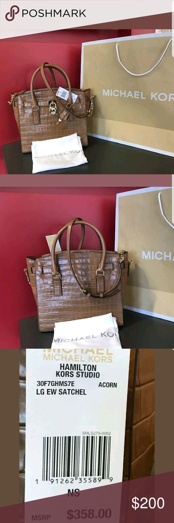 Authentic Michael kors Hamilton acorn Michael kors studio acorn LG EW satchel crossbody, please note this is new with all  original tag and care card,  my stuff is authentic, or your money back guaranty, open to reasonable offers, thank you very much for stopping by, happy shopping. Michael Kors Bags Satchels