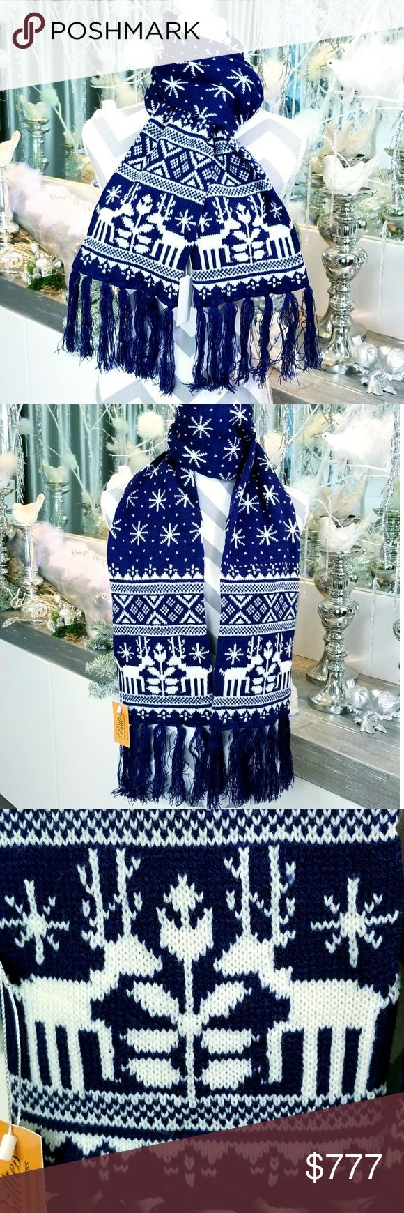 NAVY BLUE WINTER PRINT SCARF WITH FRINGE BRAND NEW  Boutique item  Price is firm   A must have for the holiday/winter season, this adorable and warm winter knit scarf featuring a joyful snowflake and reindeer print with fringed details! Make this scarf a gift to yourself or someone you care for!  NAVY BLUE and white  Color vary per screen 100% acrylic   christmas gift present stocking stuffer fall winter knittted knits scarf scarves accessoires deers snowflake hat gloves scarfs warm cozy…