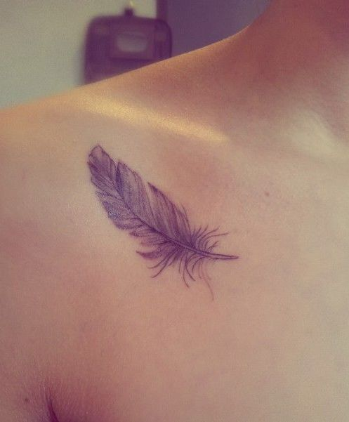 Lovely Feather Tattoo Design on Shoulder for Girls