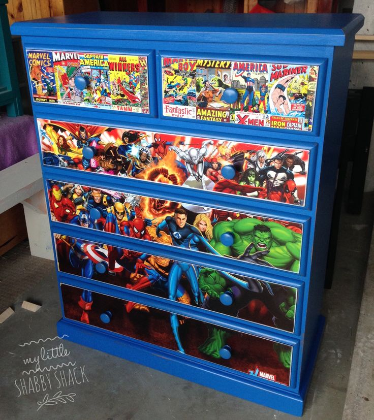 Boys marvel decoupage upcycled chest of drawers.