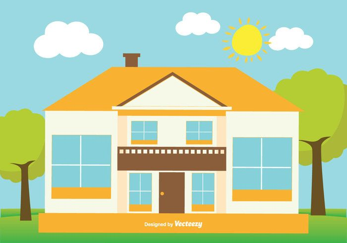 Free Vector Cute Flat Style House Illustration