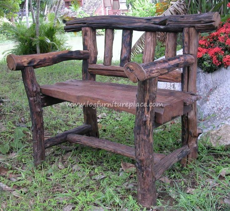 GroovyStuff Teak Wood Rocky Mountain Love Seat   Log Outdoor U0026 Patio  Furniture