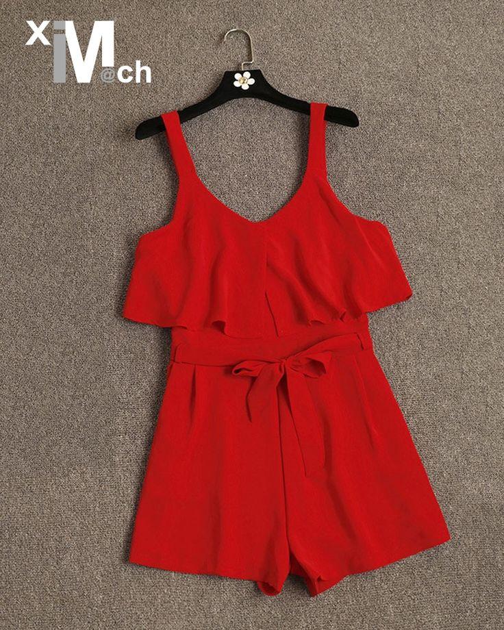 Xim & M @ CH модные, пикантные комбинезоны v образным вырезом без рукавов ремни широкие брючины оборками Комбинезоны короткий комбинезон с поясом JM06425DT купить на AliExpress