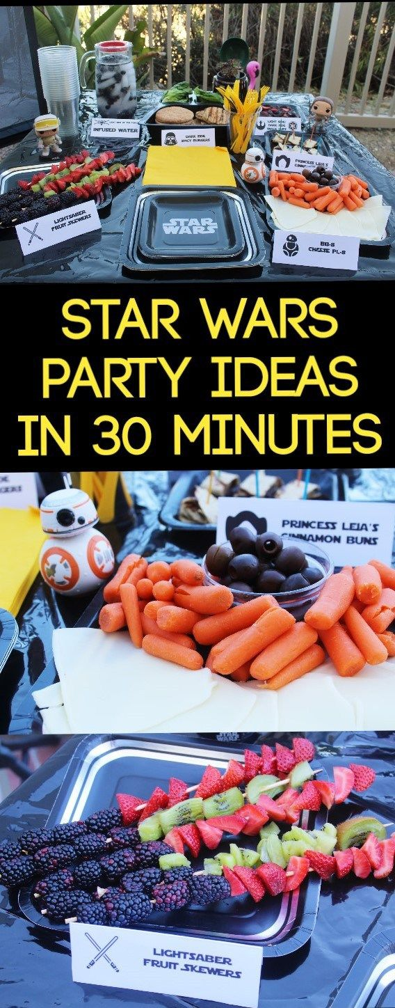 Star Wars Party Ideas that you can do within 30 minutes! All healthy eating items. Healthy Star Wars food, Star Wars party, Star Wars party decor, Star Wars party ideas, easy Star Wars Party ideas