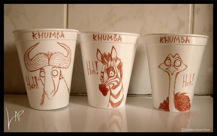 These 'Huh!' Cups are dedicated to the feature animation that myself and the team at Triggerfish worked on. If you havn't gone to check out 'Khumba' please head on over to your local cinema and enjoy this fun African tale. You'll also be supporting the South African Animation Industry!  www.khumbamovie.com    ( To see more fun 'Huh!' cups visit: Art of Lorraine Alvarez Posen )