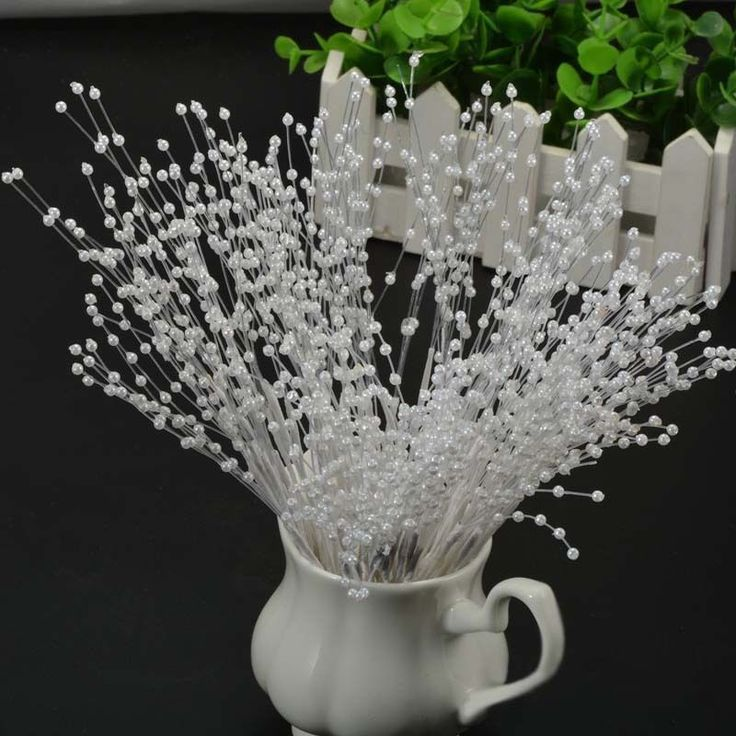 10 Stems Faux Pearl Beads Spray Wedding Bride Flower Bouquet Home Decor Novelty