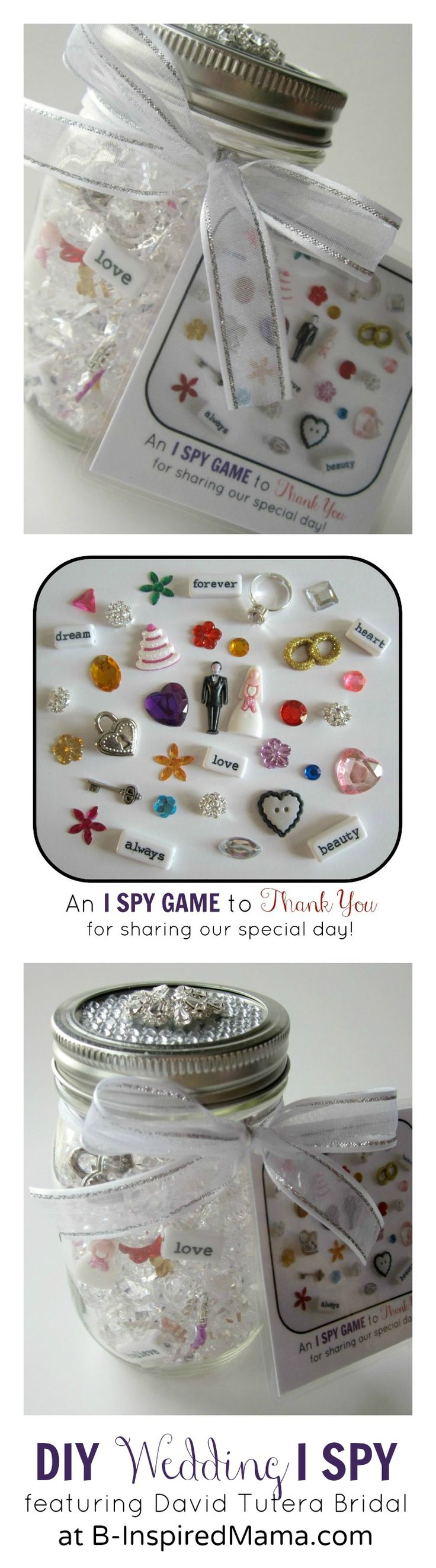 Did you do anything special for the kids at your wedding? Find out how to make a DIY I Spy Kids' Wedding Favor or Flower Girl gift using David Tutera Bridal Collection at B-InspiredMama.com. #DavidTuteraDIY
