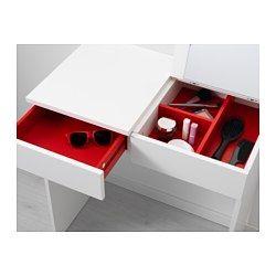 IKEA - BRIMNES, Toalettbord och byrå med 2 lådor, , Inbyggd spegel med dold förvaring som hjälper dig att organisera smycken och smink.Lådorna som är lätta att öppna och stänga har utdragsstopp.
