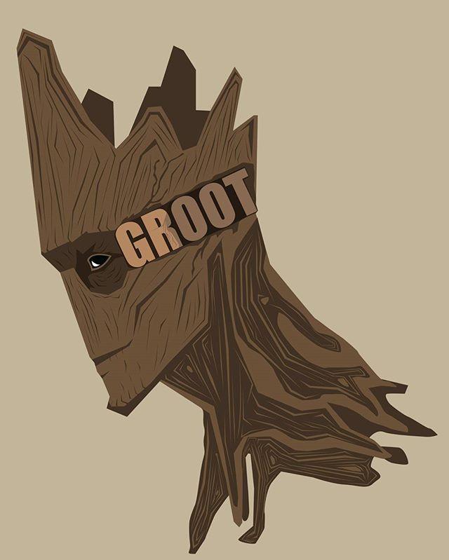 I am Groot Art inspired by @bosslogic  #iamgroot #popheadshots…