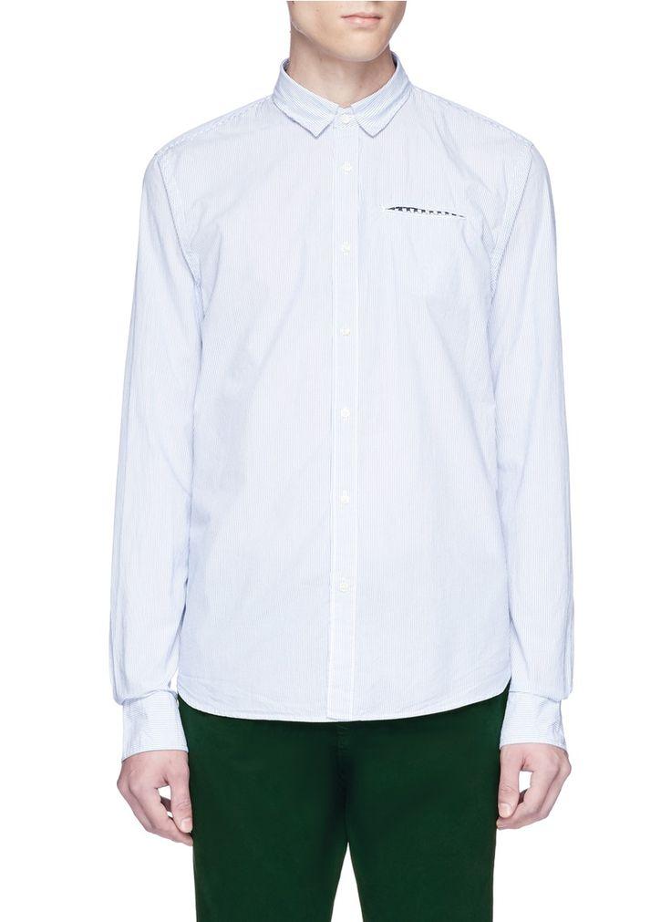 Scotch & Soda  Stripe Cotton Shirt  Welt Pocket