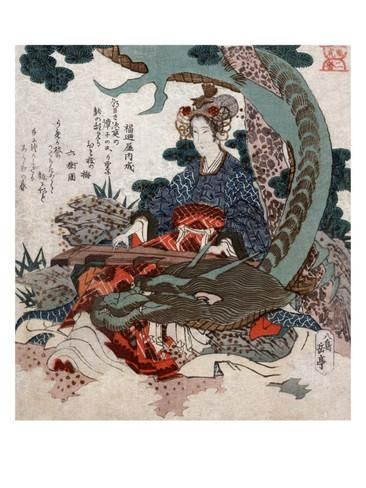 Woman Playing a Koto with a Dragon Curled around Her, Japanese Wood-Cut Print Taide tekijänä Lantern Press AllPosters.fi-sivustossa