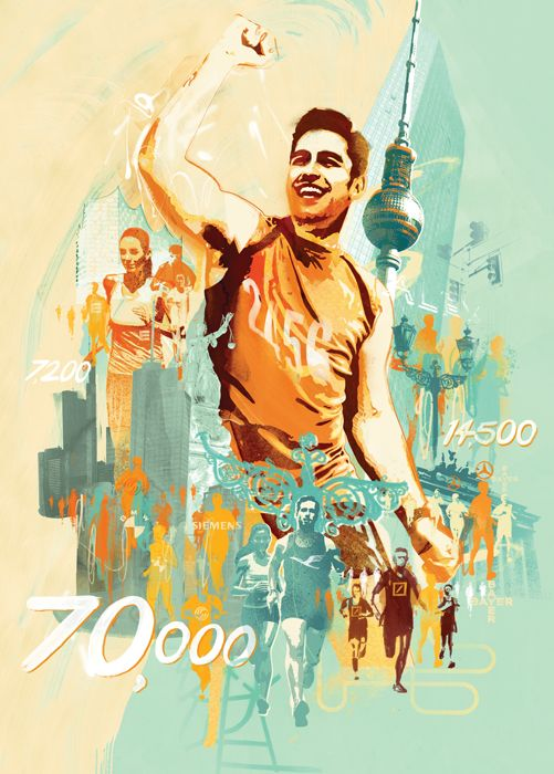 Sports illustration for running and marathon health and fitness in germany. German city illustration by danny allison illustrator.