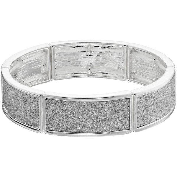 Plus Size Glittery Curved Bar Stretch Bracelet ($9) ❤ liked on Polyvore featuring jewelry, bracelets, plus size, silver, silvertone jewelry, polish jewelry, stretch jewelry, sparkle jewelry and sparkling jewellery