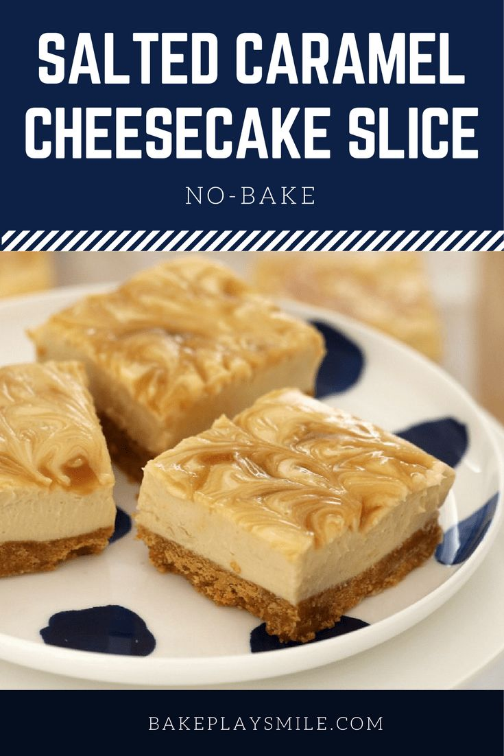 This SALTED CARAMEL CHEESECAKE SLICE is so quick and easy to prepare… AND it's totally addictive! Best of all, it's completely no-bake, so there's no need to turn the oven on! #salted #caramel #cheesecake #slice #bars #easy #recipe #nobake #thermomix #conventional