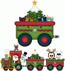 Silhouette Design Store - View Design #71916: santa express w christmas tree