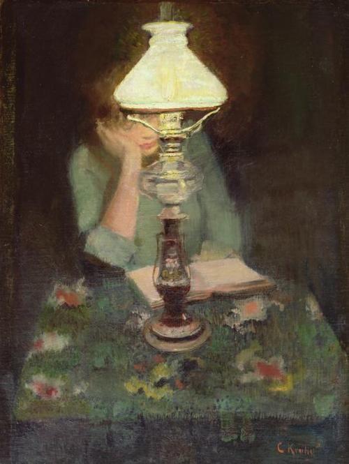 Katy doing homework. (Oda with lamp, Christian Krohg. Norwegian Realist Painter, 1852-1925)