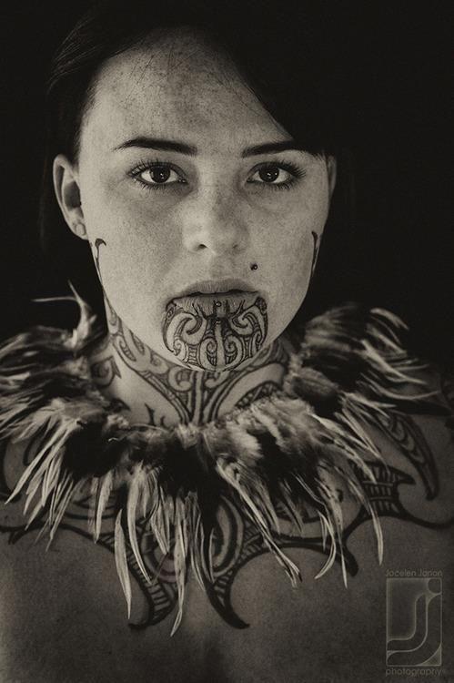 Maori Woman Face Tattoo