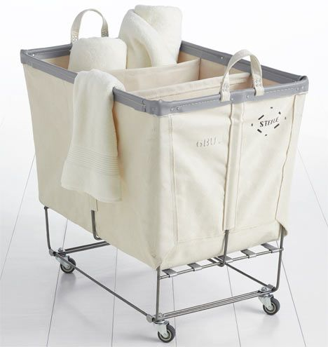 3-Section Steele Canvas Laundry Bin : This would be a perfect fit for the small side of our closet...