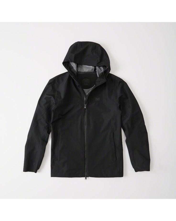 A&F Men's Waterproof Rain Jacket in Black - Size M
