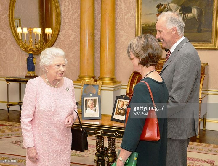 Queen Elizabeth II talks with Her Excellency Professor Kate Warner, the Governor of Tasmania, who was accompanied by Mr Richard Warner, during a private audience at Buckingham Palace on October 13, 2015 in London, United Kingdom.