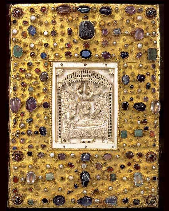 """byzantine-bling: """" The cover of the gospels of Otto III, 12th century. The ivory panel was imported from Byzantium. """""""
