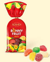 Bonny Fruit Shapes - Soft jellies are lightly dusted with sugar. The colorful shapes are fun, and taste great! For kids as well as adults - the mixed flavors include grapefruit, lemon, pineapple, strawberry, apple, orange, mango, pear, melon, banana and more. Some of these actually taste as if you were eating the actual fruit!