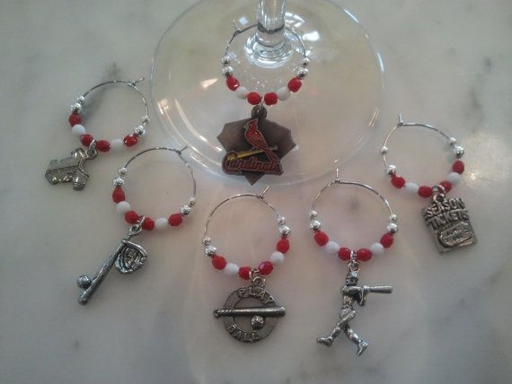 Saint Louis Cardinals  Baseball Wine Charms w/ Pouch by pchum, $23.00 Just need the charms!