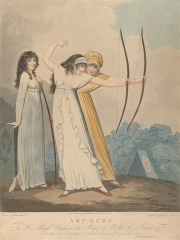 J. H. Wright, Active 1795-1838, Archers, 1799, Aquatint, Yale Center for British Art, Paul Mellon Collection