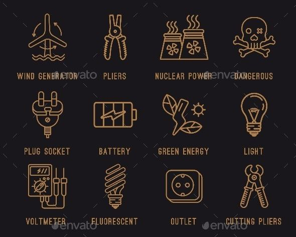 Electricity Icons. by crocolot Vector Set of Electricity Icons. Editable EPS, AI, PSD and Render in JPG format.