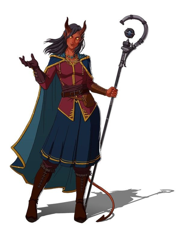 [Commission] Wynora Harpy the Tiefling Bard : characterdrawing