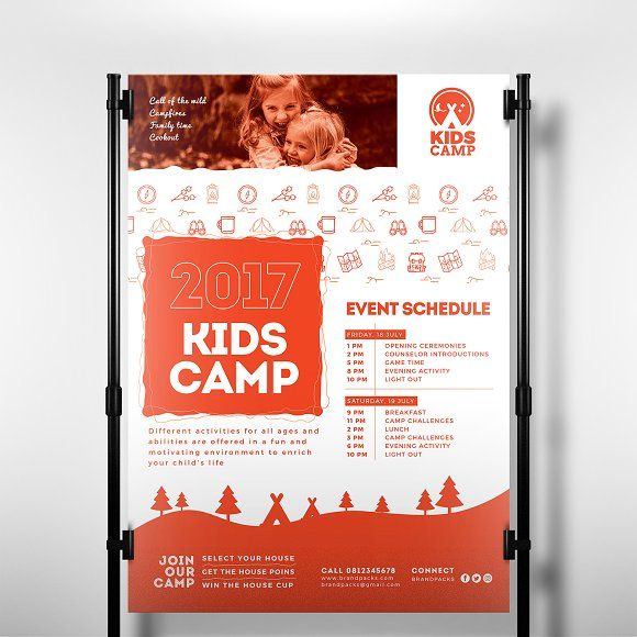 Kids Camp Poster Template by BrandPacks on @creativemarket Flyer