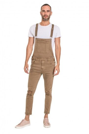 9cb33df323 Mens Slim Fit Dungarees - Detachable Bib - Light Brown. Bib-overalls and  jeans if you detach the bib