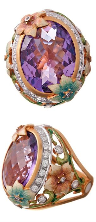 """MASRIERA"" Art Nouveau Amethyst Ring with Enamel & Diamonds, Spain. (Contemporary) 'for bolo tie?."