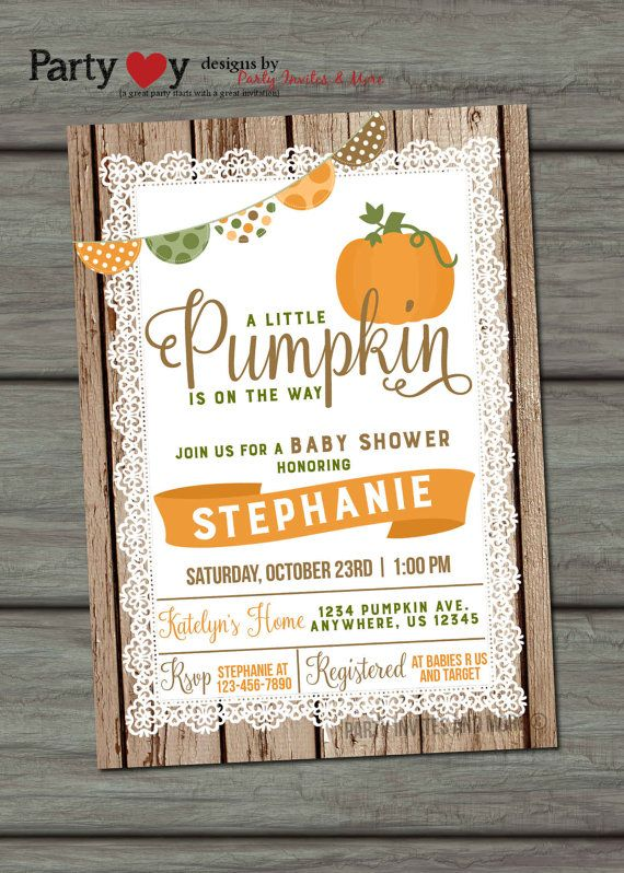 Pumpkin Baby Shower Invitation Fall Baby by PartyInvitesAndMore