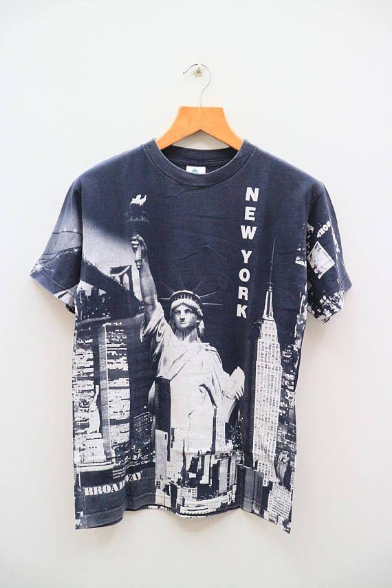 Vintage New York Broadway Full Print Black Tee T Shirt Size M Vintage New York New York Broadway Black Tee