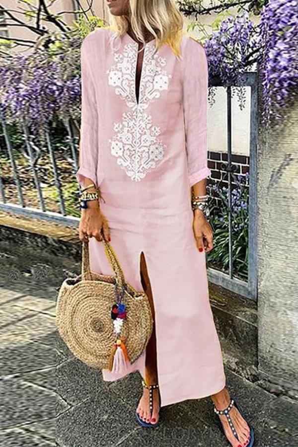 Arealook Casual Cotton Linen Long Sleeves Vintage Dress – Vesmia