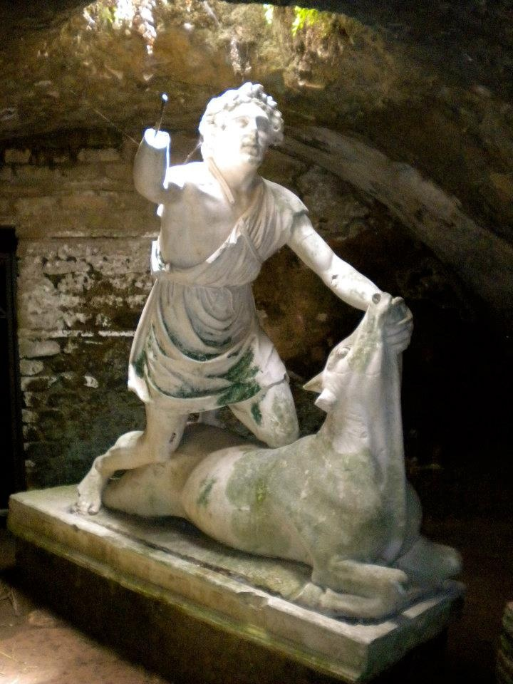 Statue of Mithras killing the bull in the Baths of Mithras at Ostia Antica, by Sammy Kailas (Summer Archaeology Field School 2012).