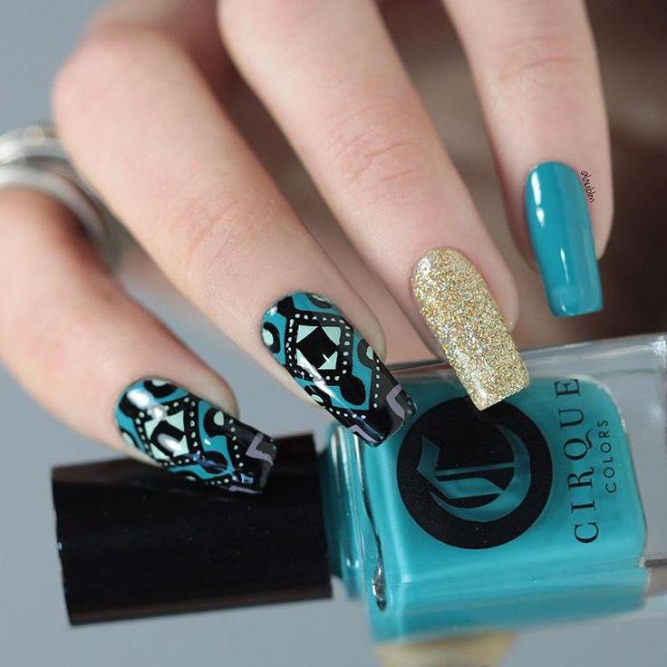 Cirque Colors {Mermaid Parade}, {Key To Gramercy} & {Deco} @cirquecolors - Powder Perfect {Abydos} @powderperfect from @color4nails - Stamping Plate {ND103} from @nicolediary2016 💚 #CirqueColors #NicoleDiary #PowderPerfect #Color4Nails #stamping #stampingplate #prsample #reversestamping #amazing_pretty #nail #nails #uñas #manicura #esmalte #polish #nailpolish #CirqueMetropolis #Abydos #gold #greenlover #MetropolisCollection #MermaidParade #KeyToGramercy #Deco #indie #indieswatch…
