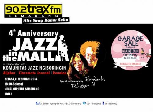 """#SEMARANG """"4th Anniversary JAZZ IN THE MALL with Endah n Rhesa""""  Tanggal : 11 Februari 2014 pukul : 18.00 wib at Mal Ciputra Semarang.  Acara ini gratis!  Selain Endah n Rhesa, juga akan ada penampilan kolaborasi dengan Komunitas Jazz Ngisoringin, Aljabar, Classmate Journal dan Reunion.  Info: 90.2traX fm Semarang Selengkapnya, Baca disini ---> http://agendakota.co.id/read/3591//4th+anniversary+jazz+in+the+mall+with+endah+n+rhesa.html"""