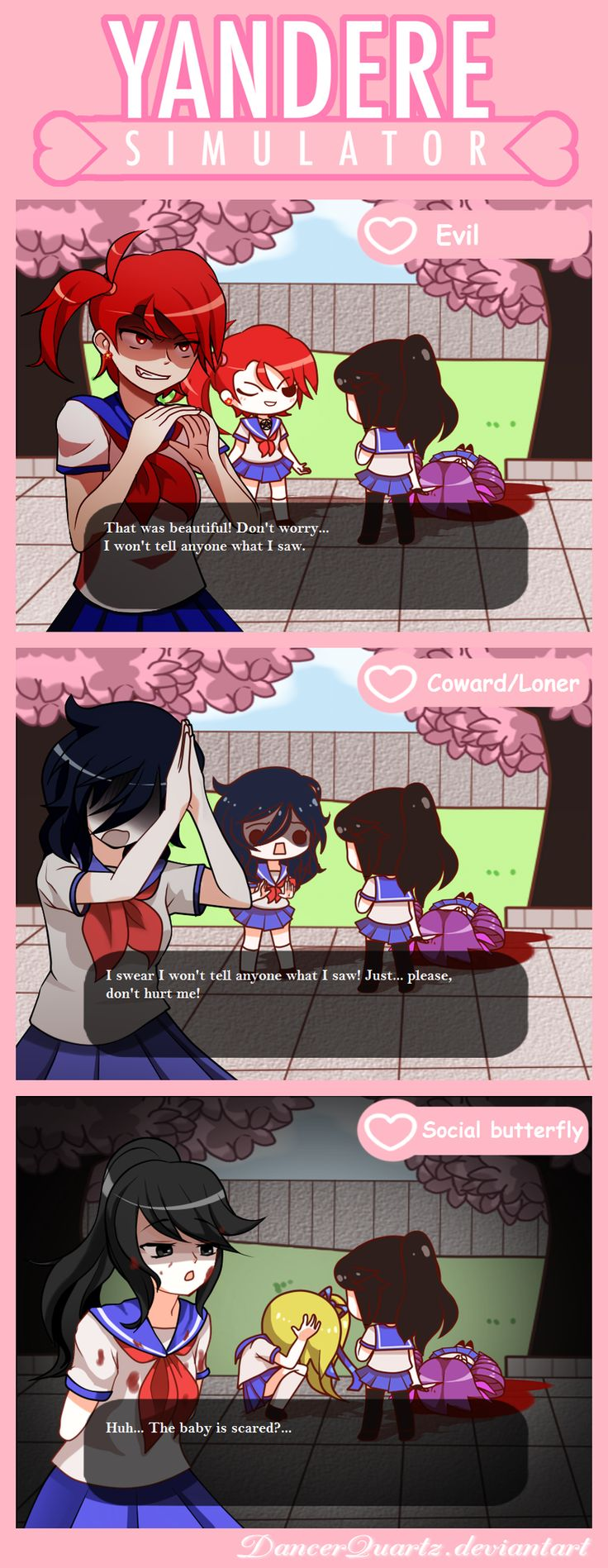 Yandere Comic - Personalities by DancerQuartz on DeviantArt | Personality types - evil, coward and social butterfly