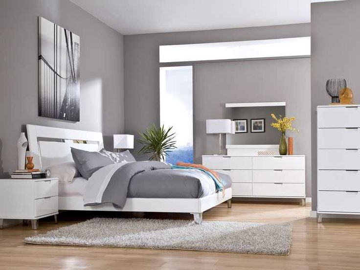 modern bedroom colors ideagrey wall color scheme and white bedding sets in modern bedroom grey wall color scheme and white bedding sets in modern bedroom - Grey And White Bedroom Design
