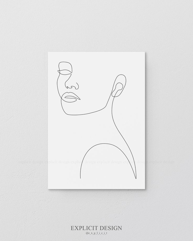 Printable Face Contour Drawing Sketch Art, Woman In One Single Line, Black and White Female Poster, Minimalist Beauty Illustration Print – Florentine Kaltz