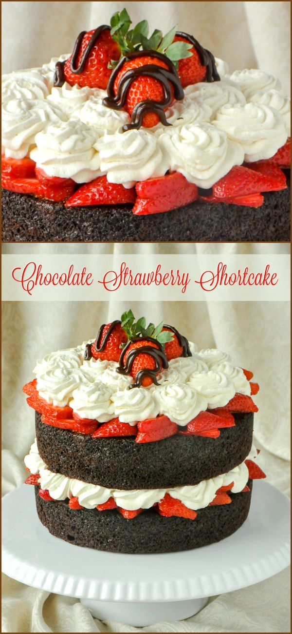 Easy Chocolate Strawberry Shortcake - this gorgeous, simple cake is so quick to make too, with only about 20 minutes of hands on preparation. It's destined to be one of your go-to desserts.